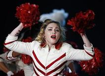 U.S. pop singer Madonna performs during her last European concert as part of her MDNA world tour in Nice, August 21, 2012 . REUTERS/Eric Gaillard