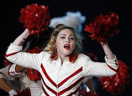 U.S. pop singer Madonna performs during her last European concert as part of her MDNA world tour in Nice, August 21, 2012 . REUTERS/Eric Gaillard