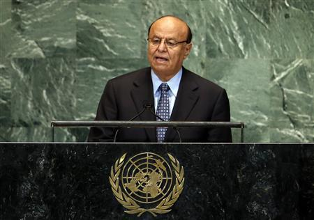 Abdrabuh Mansour Hadi Mansour, President of the Republic of Yemen addresses the 67th United Nations General Assembly at U.N. headquarters in New York, September 26, 2012. REUTERS/Mike Segar