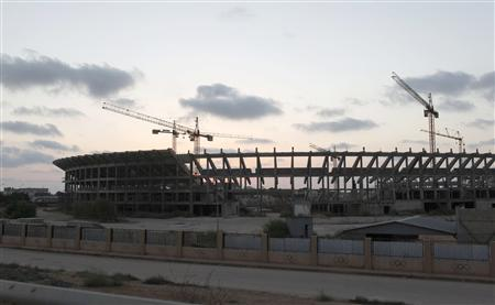The construction site of an unfinished foreign investment project to build a stadium and a sport city from the time of former Libyan leader Muammar Gaddafi, is seen in Benghazi September 25, 2012. REUTERS/Asmaa Waguih