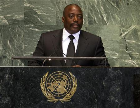 Joseph Kabila Kabange, President of the Democratic Republic of the Congo, addresses the 67th session of the United Nations General Assembly at UN headquarters in New York, September 25, 2012. REUTERS/Ray Stubblebine