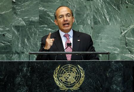 Mexico's President Felipe Calderon addresses the 67th United Nations General Assembly at U.N. headquarters in New York, September 26, 2012. REUTERS/Mike Segar