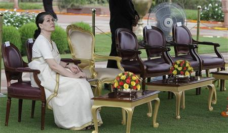 Chief of India's ruling Congress party Sonia Gandhi waits for the start of the ''At-Home Ceremony'' to mark India's Independence Day at India's presidential palace Rashtrapati Bhavan in New Delhi August 15, 2012. REUTERS/B Mathur