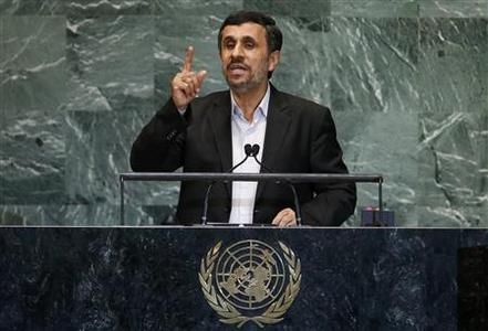 Iran's President Mahmoud Ahmadinejad speaks during the 67th United Nations General Assembly at U.N. headquarters in New York, September 26, 2012. REUTERS/Mike Segar
