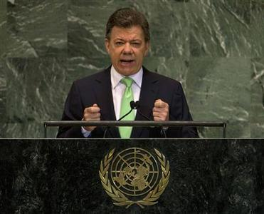 President of Colombia Juan Manuel Santos addresses the 67th session of the United Nations General Assembly at UN headquarters in New York, September 26, 2012. REUTERS/Ray Stubblebine