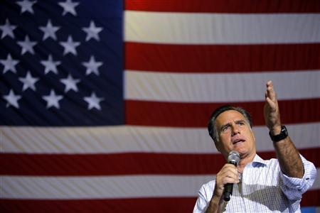 Republican presidential candidate and former Massachusetts Governor Mitt Romney speaks at a campaign rally in Westerville, Ohio September 26, 2012. REUTERS/Brian Snyder