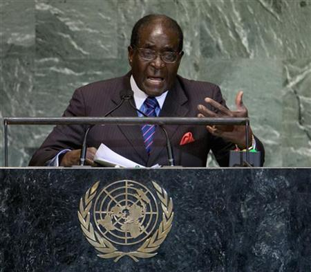 Zimbabwe's President Robert Mugabe addresses the 67th session of the United Nations General Assembly at UN headquarters in New York, September 26, 2012. REUTERS/Ray Stubblebine