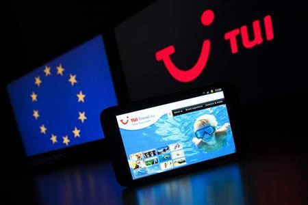 The website of German tourism group TUI AG, owner of Europe's largest travel company TUI Travel, is pictured on a mobile phone in this illustration picture taken in Lavigny May 20, 2012. REUTERS/Valentin Flauraud