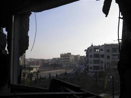 Damaged buildings are seen at Al Khalidieh near Homs September 25, 2012. REUTERS/Shaam News Network/Handout