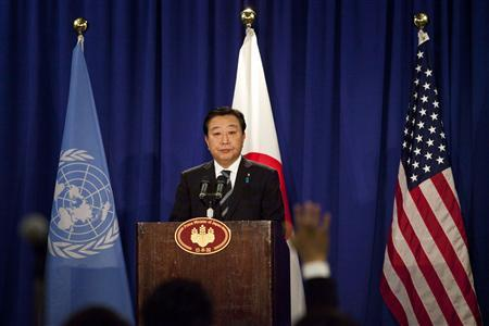 Japan's Prime Minister Yoshihiko Noda addresses a news conference in New York September 26, 2012. Japan has sovereignty over the islands at the heart of a dispute with China and therefore will not compromise on ownership, Noda said on Wednesday. REUTERS/Andrew Burton