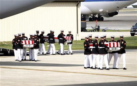 The remains of the U.S. ambassador and three other Americans killed in an attack in Libya are taken off a transport aircraft during a return of remains ceremony at Andrews Air Force Base near Washington, September 14, 2012. REUTERS/Jason Reed