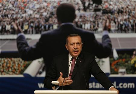 Turkey's Prime Minister and leader of Justice and Development Party (AKP) Tayyip Erdogan makes a speech during a party meeting in Istanbul September 22, 2012. REUTERS/Murad Sezer