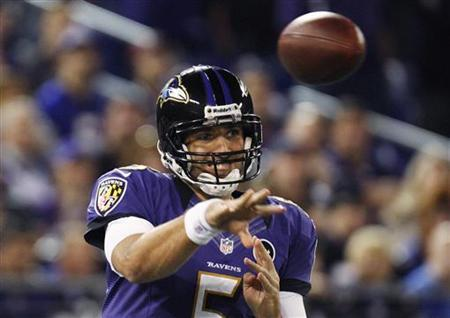 Baltimore Ravens quarterback Joe Flacco (5) passes during the first half of their NFL football game against the New England Patriots in Baltimore, Maryland, September 23, 2012. REUTERS/Jonathan Ernst