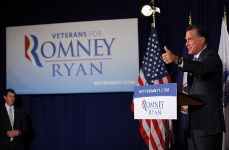Republican presidential candidate and former Massachusetts Governor Mitt Romney speaks at American Legion Post 176 in Springfield, Virginia September 27, 2012. REUTERS/Brian Snyder
