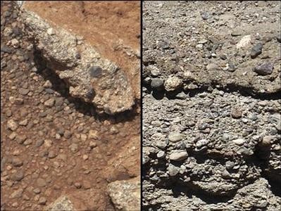 This set of NASA handout images compares the Link outcrop of rocks on Mars (L) with similar rocks seen on Earth (R). The image of Link taken September 2, 2012 and released September 27, 2012, was obtained by NASA's Curiosity rover and shows rounded gravel fragments, or clasts, up to a couple inches (few centimeters), within the rock outcrop. REUTERS/NASA/JPL-Caltech/MSSS and PSI/Handout