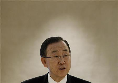 U.N. Secretary-General Ban Ki-moon delivers his speech during a session of the Human Rights Council at the United Nations European headquarters in Geneva September 10, 2012. REUTERS/Denis Balibouse