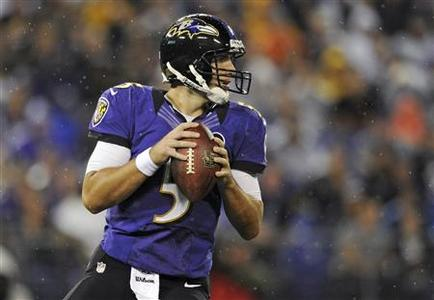 Baltimore Ravens quarteback Joe Flacco looks to pass against the Cleveland Browns during NFL football action in Baltimore, Maryland September 27, 2012. REUTERS/Patrick Smith