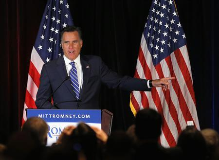 Republican presidential candidate and former Massachusetts Governor Mitt Romney speaks at a campaign fund raiser in Washington, DC September 27, 2012. REUTERS/Brian Snyder
