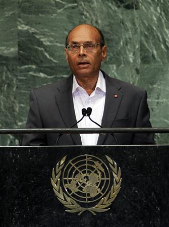 Tunisia's President Moncef Marzouki addresses the 67th United Nations General Assembly at the U.N. headquarters in New York September 27, 2012. REUTERS/Lucas Jackson