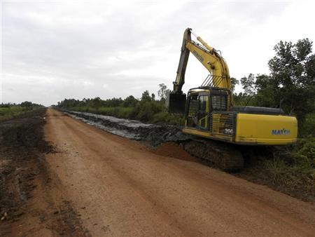 A excavator clears a ditch on a road owned by a disputed palm oil plantation firm near Sebangau Kuala, Pulang Pisau regency in Central Kalimantan June 19, 2012. REUTERS/David Fogarty