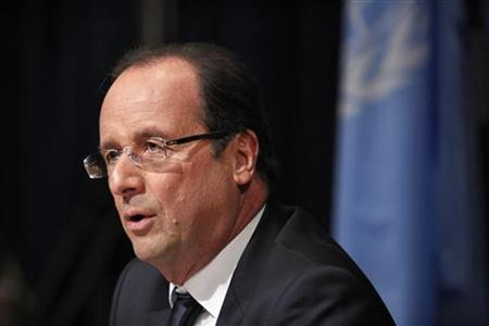 France's President Francois Hollande speaks during a news conference after his speech at the 67th United Nations General Assembly at the U.N. headquarters in New York September 25, 2012. REUTERS/Eduardo Munoz