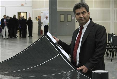 Chief Technology Officer Mustafa Pinarbasi is shown in the new 225,000-square-foot SoloPower factory in Portland, Oregon, September 27, 2012. The U.S. solar start-up opened the doors of its first factory on Thursday, a key milestone toward allowing the company to collect on a $197 million government loan guarantee. REUTERS/Dan Cook