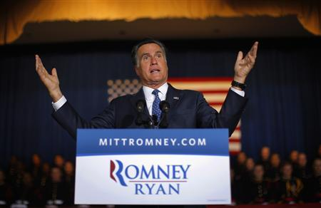 Republican presidential candidate and former Massachusetts Governor Mitt Romney speaks at Valley Forge Military Academy in Wayne, Pennsylvania September 28, 2012. REUTERS/Brian Snyder