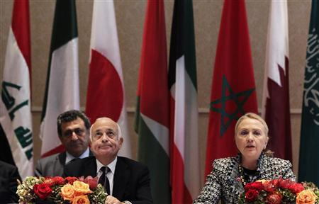 U.S. Secretary of State Hillary Clinton speaks during the Friends of Syrian People Ministerial as Arab League chief Nabil Elaraby (L) sits at the Waldorf Astoria in New York September 28, 2012. REUTERS/Shannon Stapleton