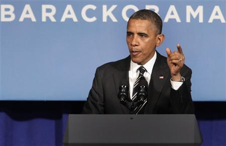U.S. President Barack Obama delivers remarks at a campaign event in Washington September 28, 2012. REUTERS/Yuri Gripas
