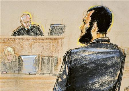 Defendant Omar Khadr (R), a native of Toronto, Canada, pleads guilty under oath to all five terrorism charges against him before military commission judge Army Colonel Patrick Parrish (L) during a U.S. war crimes tribunal at Guantanamo Bay Naval Base in Cuba, in this courtroom sketch October 25, 2010. REUTERS/Janet Hamlin/Pool