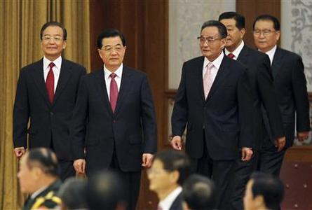 China's President Hu Jintao (2nd L), Chairman of the Standing Committee of the National People's Congress Wu Bangguo (3rd R), Premier Wen Jiabao (L), top political advisor Jia Qinglin (2nd R), and China's Standing Committee of the Political Bureau member Li Changchun attend a banquet marking the 63rd anniversary of the founding of the People's Republic of China, at the Great Hall of the People in Beijing September 29, 2012. China's National Day falls on October 1. REUTERS/China Daily (CHINA - Tags: ANNIVERSARY POLITICS) CHINA OUT. NO COMMERCIAL OR EDITORIAL SALES IN CHINA