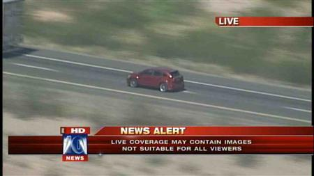 A vehicle is shown being pursued by police in a high-speed chase in this handout still image from video courtesy of MyFox10 News in Phoenix, Arizona September 28, 2012. REUTERS/MyFox10 News/Handout