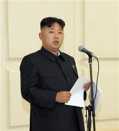 North Korean leader Kim Jong-Un speaks at a banquet to celebrate the 52nd anniversary of the start of the late leader Kim Jong-il's leadership over the Songun (military first) in this picture released by the North's official KCNA news agency in Pyongyang August 26, 2012. REUTERS/KCNA/Files