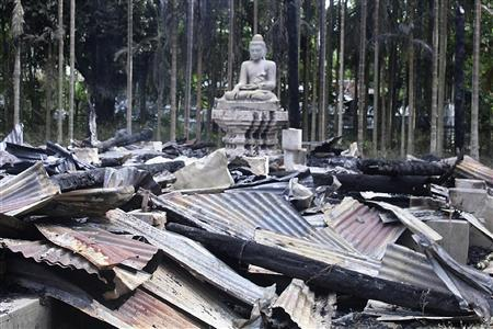 A temple burnt by Muslims is seen in Cox's Bazar September 30, 2012. REUTERS/Stringer