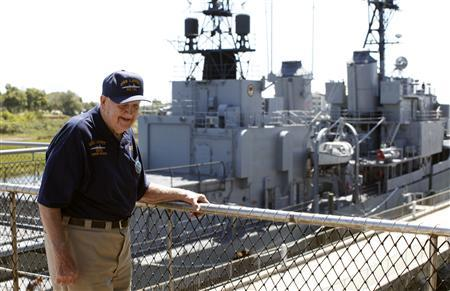 World War Two veteran Wilbert Gauding, 92, of Ravenna, Ohio, stands on the USS Yorktown after touring the USS Laffey with his family at Patriots Point Naval & Maritime Museum in Mount Pleasant, South Carolina September 11, 2012. REUTERS/Randall Hill
