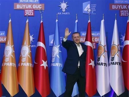 Turkey's Prime Minister and leader of ruling Justice and Development Party (AKP) Tayyip Erdogan greets his supporters before making his address during his party congress in Ankara September 30, 2012. REUTERS/Murad Sezer