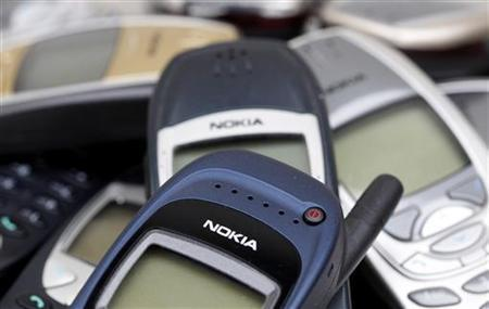 Illustration picture shows Nokia logo on used cell phones, in Zurich, April 30, 2012. REUTERS/Christian Hartmann