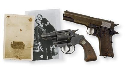 Two pistols, shown in this RR Auction photograph, found on the bodies of famed Depression-era outlaws Bonnie Parker and Clyde Barrow after they were killed by a posse in 1934 have sold at auction for a total of $504,000at an auction in Nashua, New Hampshire on September 30, 2012. REUTERS/RR Auction/Handout