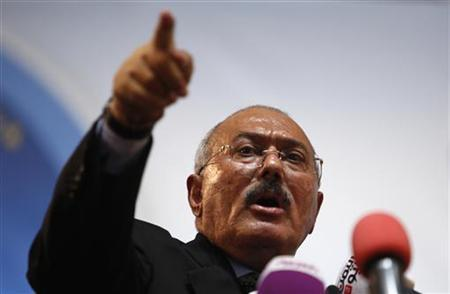 Yemen's former President Ali Abdullah Saleh addresses a ceremony marking the 30th anniversary of the establishment of the General People's Congress party, which he leads, in Sanaa September 3, 2012. Saleh stepped down in February after more than a year of country-wide protests demanding his resignation. REUTERS/Khaled Abdullah