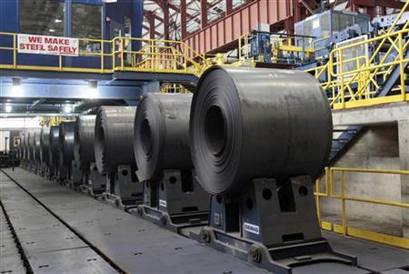 Rolled steel is seen after being treated on the pickle line at the Severstal steel mill in Dearborn, Michigan June 21, 2012. REUTERS/Rebecca Cook