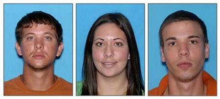 Dylan Dougherty Stanley, 26, Lee Grace E. Dougherty, 29, and Ryan Edward Dougherty, 21 (L-R); are pictured in this combination image of law enforcement photographs released to Reuters on August 5, 2011. REUTERS/Pasco County Sheriff's Office/Handout
