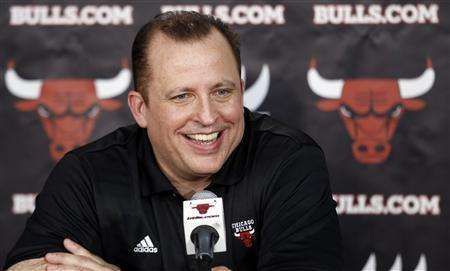 Chicago Bulls head coach Tom Thibodeau answers questions about his new contract during media day for their upcoming NBA basketball season in Deerfield, Illinois, October 1, 2012. REUTERS/Jeff Haynes