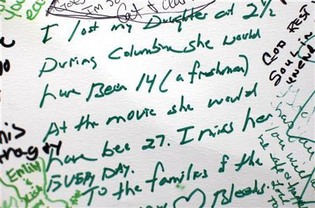 A note left at a memorial to those killed in the movie theater shootings is seen in Aurora, Colorado July 28, 2012. REUTERS/Rick Wilking