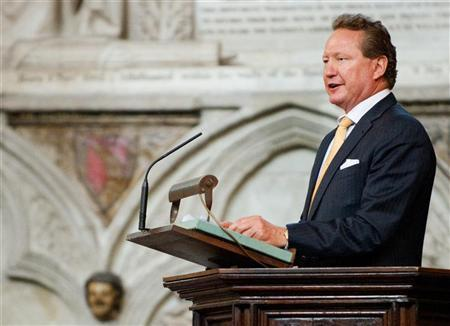 The Chairman of Fortescue Metals Group, Andrew Forrest, reads from the pulpit during the Commonwealth Day Observance service at Westminster Abbey in London March 12, 2012. REUTERS/Leon Neal/pool