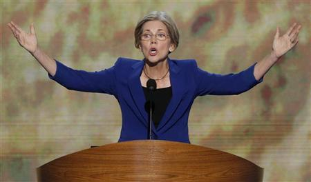Massachusetts U.S. Senate candidate Elizabeth Warren addresses delegates during the second session of the Democratic National Convention in Charlotte, North Carolina, September 5, 2012. REUTERS/Jason Reed