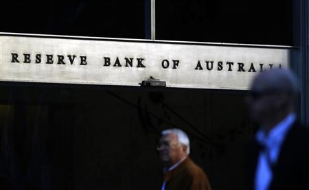 Sun reflects off the front door sign of the Reserve Bank of Australia building in Sydney in this July 5, 2011 file photo. REUTERS/Tim Wimborne/Files