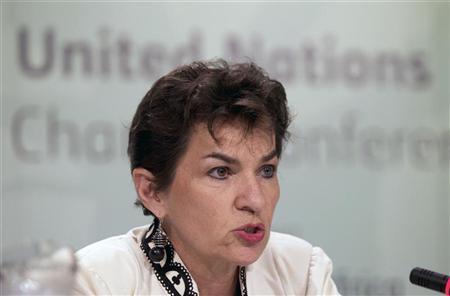 Executive Secretary of the United Nations Framework Convention on Climate Change (UNFCCC) Christiana Figueres speaks during a news conference at the Conference of the Parties (COP17) of the United Nations Climate Change Conference in Durban, November 28, 2011. REUTERS/Rogan Ward