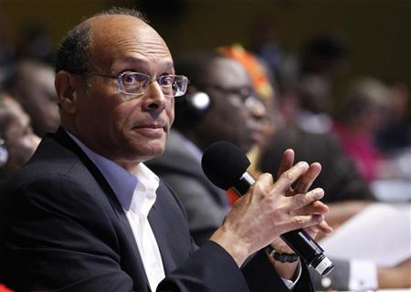 Tunisian President Moncef Marzouki prepares to speak at an event to discuss leveraging AIDS response during the 67th United Nations General Assembly at the U.N. Headquarters in New York, September 26, 2012. REUTERS/Lucas Jackson