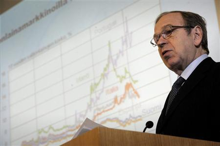 Bank of Finland Governor Erkki Liikanen speaks during a press briefing on the release of the latest issue of the Euro & talous (Euro and Economy) journal in Helsinki, Finland March 15, 2012. REUTERS/Lehtikuva/Antti Aimo-Koivisto