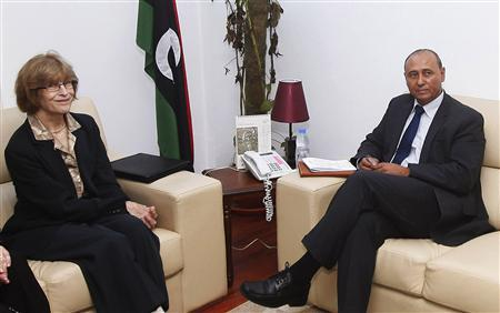 Libya's Deputy Foreign Minister Mohammed Abdulaziz (R) meets with acting U.S. Assistant Secretary of State for Near Eastern Affairs Elizabeth Jones in Tripoli October 2, 2012. REUTERS/Ismail Zitouny
